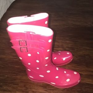 Pink and White Rainboots